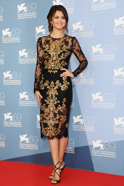 Selena Gomez in gold embroidered dress