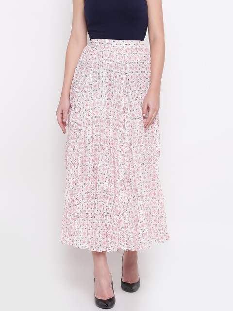 AURELIA White & Red Printed Maxi Flared Skirt