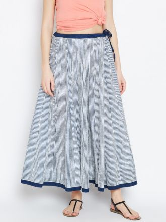 Biba Navy-White Striped Maxi Flared Skirt