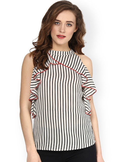 SASSAFRAS Black and White Striped Top with Ruffled Detail