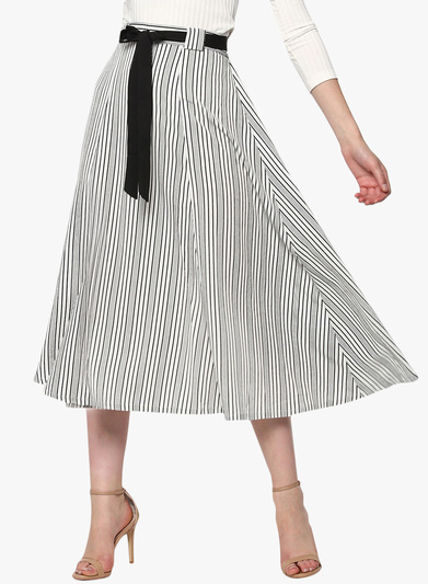 Sassafras Off White Striped Flared Skirt