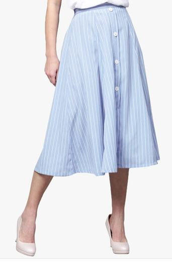 Sassafras Blue Striped Flared Skirt