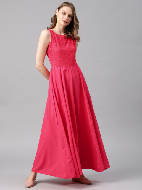 Coral pink maxi dress for women