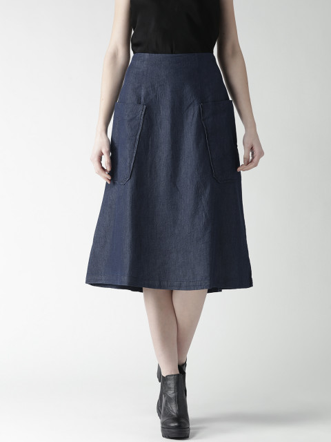 Mast & Harbour Blue Chambray Flared Midi Skirt