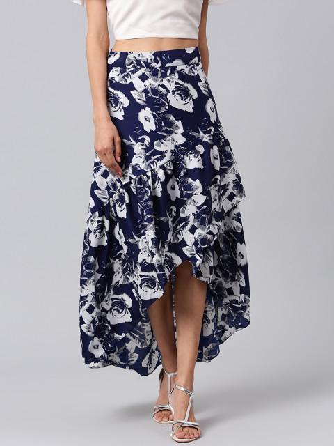 Athena Women Blue & White Floral Print Maxi Skirt