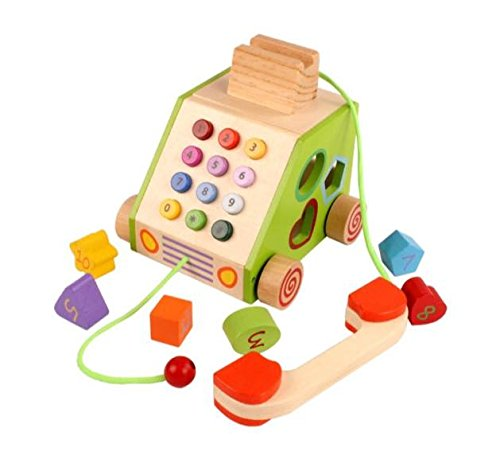 WE-Blink Wooden Pull Along Telephone Multi function Toy