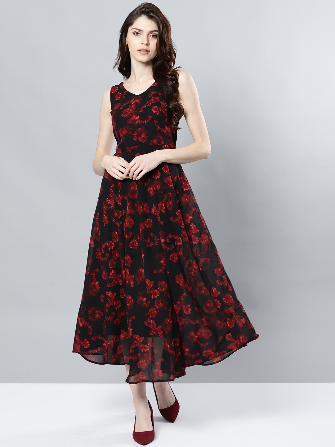 Black party gown with low high hem