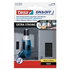 Buy Tesa On and Off Extra Strong Hook and Loop Strips - 50mm x 10cm (Black) from Amazon