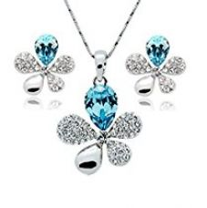 Buy Habors 18K White Gold Plated Blue Austrian Crystal Adelia Pendant Set for Women and Girls from Amazon