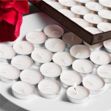 Flat 43% off on Skycandle Pack of 50 white unscented Tea Light Candles