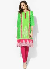 Buy Aurelia Green Printed Kurta for Rs. 360
