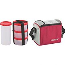 Nayasa Nebula Plastic Lunch Box, 4-Pieces, Red for Rs. 292