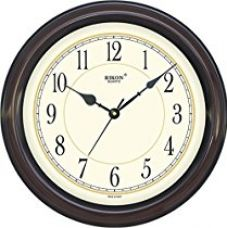 Buy Rikon Quartz Plastic Round Shape 36 Cm X 36 Cm Fancy Premium Home Decor Wall Clock (Brown Ivory) For Home And Office from Amazon