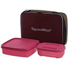 Signoraware Twin Smart Plastic Lunch Box with Bag, Pink for Rs. 270