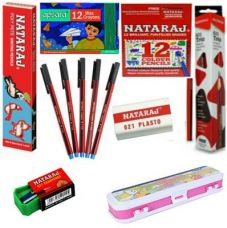 Get 63% off on Nataraj Class Combo 2 (Classic Pen-5, Glow Pencil-1 Pkt, Picture Pencil-1 Pkt, 12 Shades Colour Pencils-1pkt, Apsara 12 Shades Wax Crayons, 1 Geometry Box, 621 Sharpner-2, Plasto Eraser-2)