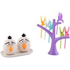 Buy DRL Ceramic & Plastic Salt & Pepper Set with Fork (Assorted, 13 cm x 6 cm x 8 cm and 15 cm x 15 cm) from Amazon
