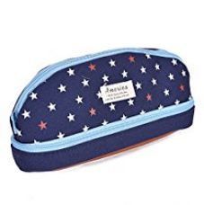 Enwraps Cloth America Navy Blue Curved Double Zipped - Navy Blue Pencil Pouches for Rs. 290