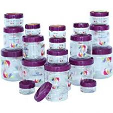 Buy Princeware Mini Combo Plastic Jar Set, 19-Pieces, Transparent from Amazon