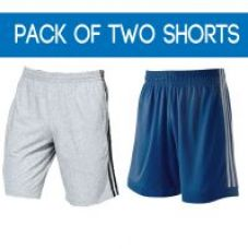Flat 50% off on Demokrazy White  Blue Cotton Lycra Plain Sports Shorts For Mens (Pack Of 2)