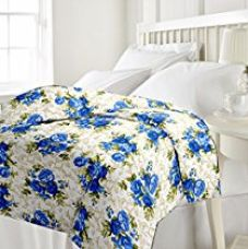ECraftIndia 220 TC Polycotton Single Blanket - Floral, Blue and White for Rs. 514