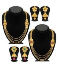 Buy Sukkhi Golden Necklace Set Combo from SnapDeal