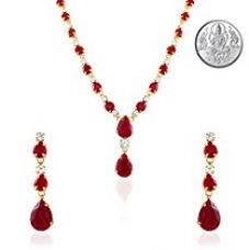 Oviya Gold Plated Red Charismatic Necklace Set with Crystals for Women with Silver Laxmi Coin NL2103114GCI for Rs. 546