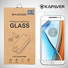 Kapaver Moto G4 Plus tempered glass, 2.5D Arc Edge 9H Hardness Premium Screen Guard Protector for Rs. 419