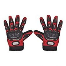 Buy Romic Leather Motorcycle Full Gloves (Red, Large) from Amazon