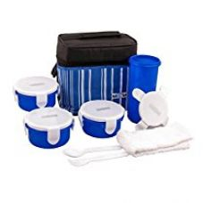 Buy Nayasa Toasty Plastic Lunch Box, 4-Pieces, Blue from Amazon