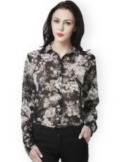 Buy PURYS Women Black Floral Printed Shirt from Myntra