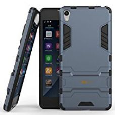 Heartly Sony Xperia E5 Back Cover Graphic Kickstand Hard Dual Rugged Armor Hybrid Bumper Case - Navy Black for Rs. 379