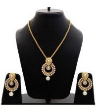 Manukunj White and Golden Necklace Set for Rs. 295