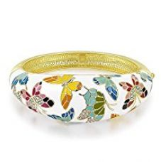 Yellow Chimes Crystals from Swarovski Queen of Versailles Enamel Bangle Bracelet for Women and Girls for Rs. 1,899
