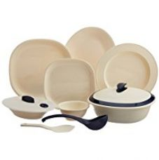 Signoraware Square Dinner Set, 36-Pieces, Off White/Blue for Rs. 2,990
