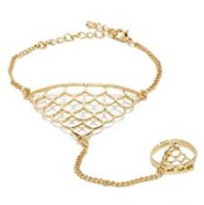 Cinderella Collection By Shining Diva Gold Metal Strand Bracelet Cum Ring For Girls / Women for Rs. 299