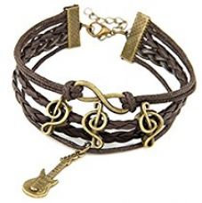 Habors Jewel Touch Brown Leather Charm Bracelet For Men & Women for Rs. 299