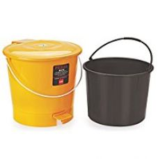 Buy Cello Plastic Pedal Bin Big Delux Garbage Bucket With Bucket, Gold/Black, 10 Litre from Amazon
