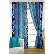 Buy HOMEC Trendy Printed Curtain Set of 2 (Size - Door 46 X 84 inch/Color - Blue) from Amazon