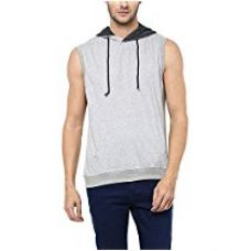 American Crew Men's Sleeveless Grey Melange Hoodie - L (AC1212-L) for Rs. 559