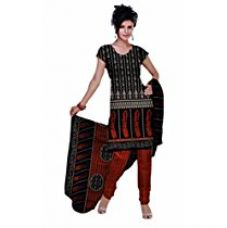Araham Printed Blackand Red Synthetic Polyester Unstitched Salwar Suit Dress Material for Rs. 269
