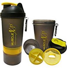 Buy MuscleXP Smart Advanced Gym Shaker (Transparent Black & Yellow) With Strainer 500ml- Design 9 from Amazon