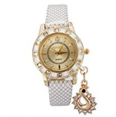 Habors Rhinestone Studded Swan Pendant Watch With White Band (Valentine Gift) for Rs. 399