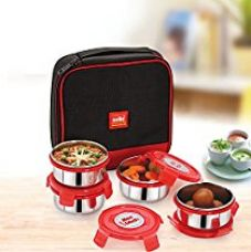 Cello Max Fresh Supremo Stainless Steel Lunch Box Set, 300ml, Set of 4, Red for Rs. 769