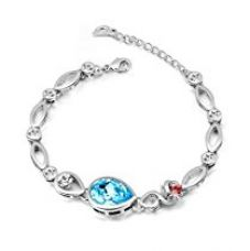 Buy NEVI Flower Fashion Swarovski Elements Rhodium Plated Charm Bracelet Jewellery for Women And Girls (Blue Red Silver) from Amazon