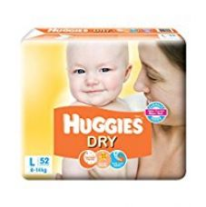 Huggies New Dry Large Size Diapers (52 Counts) for Rs. 730