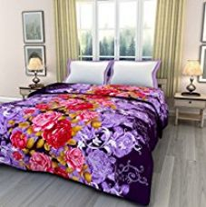ECraftIndia Printed 220 TC Polycotton Single Blanket - Floral, Purple, Red and Pink for Rs. 487