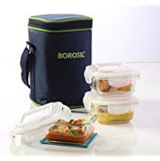 Buy Borosil Klip N Store Microwavable Containers with Lunch Bag, 320ml, Set of 3, Clear from Amazon