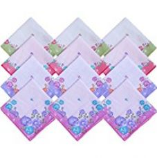 S4S Women's Cotton Handkerchief (HK15, Multicolour, Medium) - Pack of 12 for Rs. 269