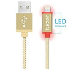 Buy Tukzer Apple Certified 1Mtr Lightning Cable 8 Pin to USB 2.4A Nylon Braided with LED Indicator Fast Charge & Sync Cable (Gold) from Amazon
