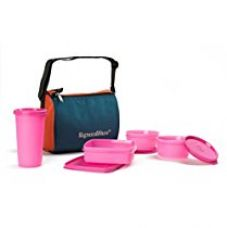 Buy Signoraware Best Sapphire Plastic Lunch Box Set with Bag, 4-Pieces, Pink from Amazon